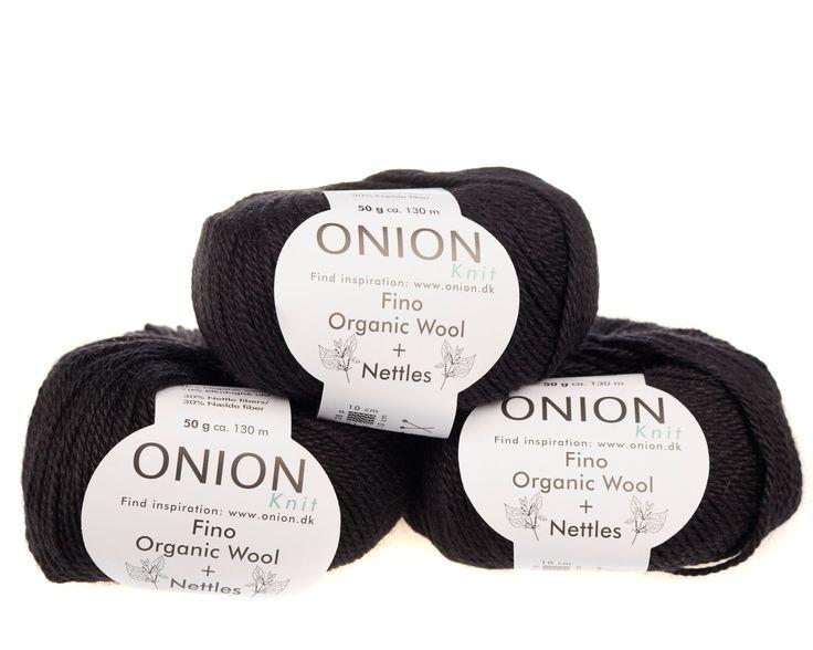 Sort V821 - No. 4 - Fin økologisk uld med nældefibre - Onion - Strikkepinden - Nøgler á 50 gram