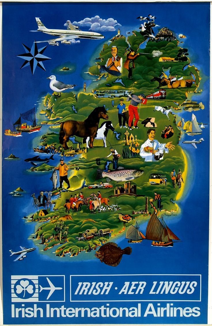 Happy St. Patrick's Day! Air travelers in the 1960s were enticed to Ireland by this colorful Aer Lingus poster ad (c. 1965).
