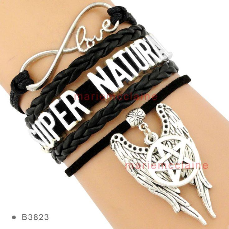 (10 Pieces/Lot) Infinity Love Supernatural Angel Wing Pentagram Charm Bracelet Black Suede Leather Women's Fashion Custom