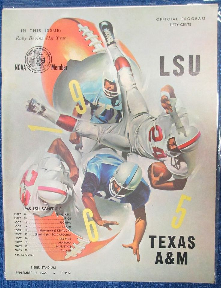 1965 Game Program between the LSU Tigers and Texas A&M Aggies at Tiger Stadium on 09/18/65