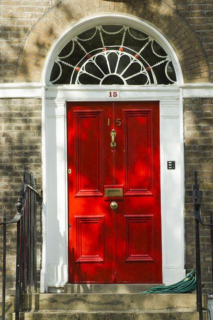 LONDON. Georgian terrace house, Highbury Green, Islington. Lovely wide door. For smart brassware like this click below: http://www.priorsrec.co.uk/door-furniture/c-p-0-0-3