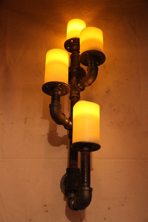 Industrial pipe candle holder wall sconce by DutchMommaDesigns, $110.00 - DIY to match curtain rod