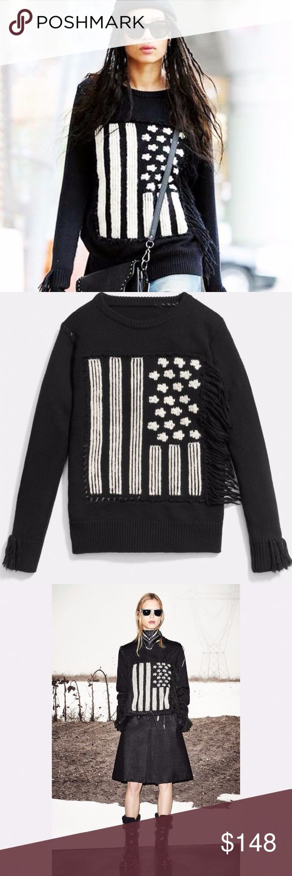 NWT Coach Flag Intarsia Fringe Merino Wool Sweater The best sweater! Pure merino wool in a chunky knit imbues this striking rendering of the stars and stripes with luxurious softness and exceptional warmth. Its monochrome motif is intarsia-knit by hand for clear, inlaid fields of contrast color, then hand-appliquéd using Rip and Repair baseball-stitch details—our exclusive leather homage to the great American pastime. Hand-applied fringe completes its design.   Brand New with tags. Coach…