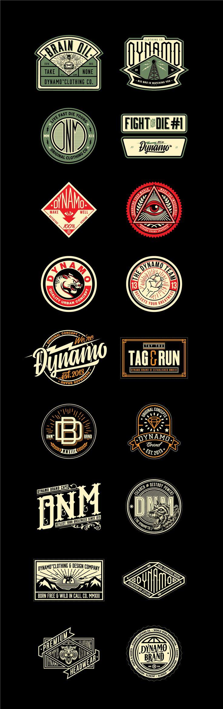 Sellos creados para diferentes tipos de prendas de la marca caleña y colombiana Dynamo brand.