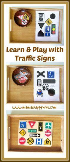 Enjoy 14 tot trays for a Montessori inspired transportation unit. - www.mamashappyhive.com