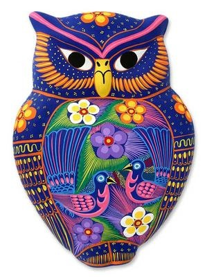 Floral Owl (Mexican ceramic painted folk art). This captivating ceramic wall adornment by Pedro and María is crafted by hand.