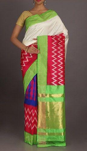 Kritika Multiple Hues On Serene White Ikat Pochampally Silk Saree