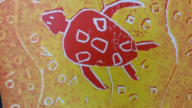 Aboriginal art linosnede