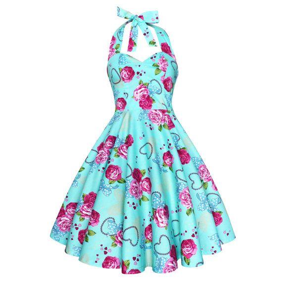 Pinup dress pastel blue rose vintage 50s rockabilly for Vintage pin up wedding dresses