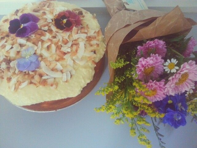 Coconut and Lime Syrup Cake. Flowers by Rosies Wildflowers.