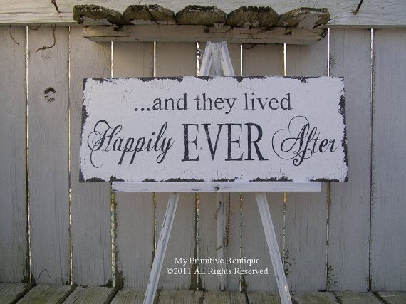 and they lived HAPPILY EVER AFTER Sign, Vintage Wedding Sign, Shabby Chic Wedding, 20 x 8 via Etsy