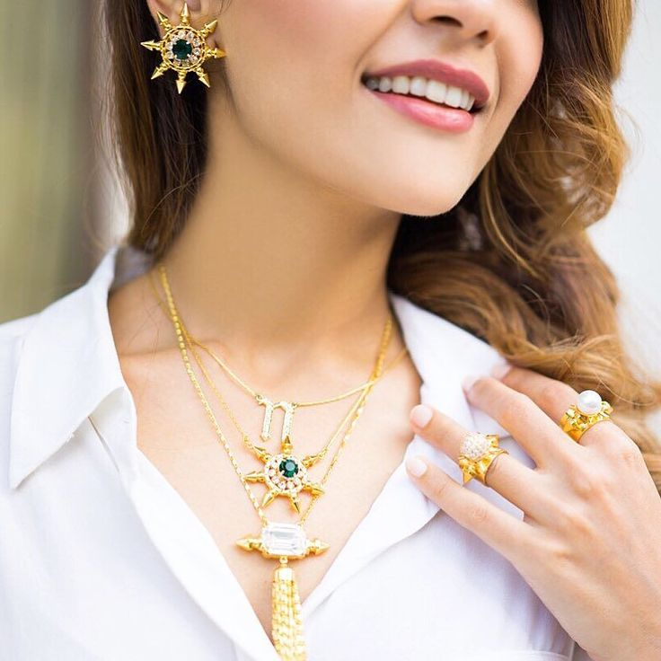 Laugh as much as you breathe  Love as much as you live  Layer as much you can!  Celebrate loving laughing and layering with us  #PrertoAlphabetNecklace #EmeraldHeliosPendant #CrystalSwayPendant #GreenSunEarrings #Prerto #Jewelry