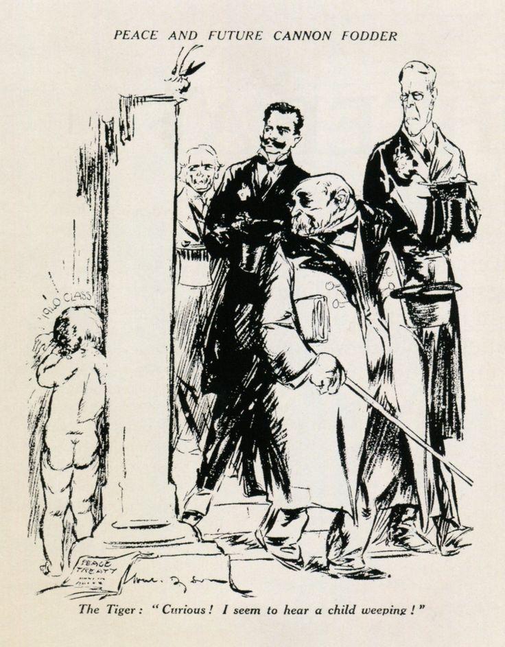 """W. Dyson, 'Peace and Future Cannon Fodder', in 'Daily Herald' (Groot-Brittannië, 13 mei 1919) Vertaling titel: 'Vrede en het toekomstige kanonvoer'. Onderschrift: """"The Tiger: 'Curious! I seem to hear a child weeping!"""" Vertaling: 'De tijger: 'Vreemd! Ik meen een kind te horen huilen!' De Franse president Clemenceau had als bijnaam 'de tijger'. Boven het kind staat: """"1940 class"""". Achter Clemenceau lopen: Woodrow Wilson, Vittorio Emmanuele Orlando en David Lloyd George."""
