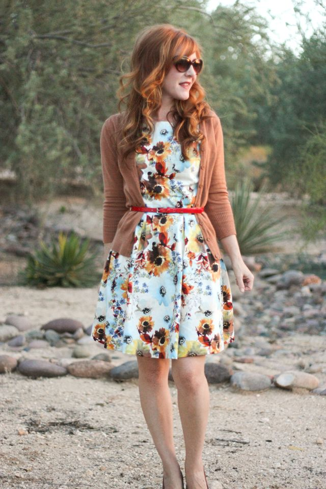 Belted open cardigan over a floral dress for fall
