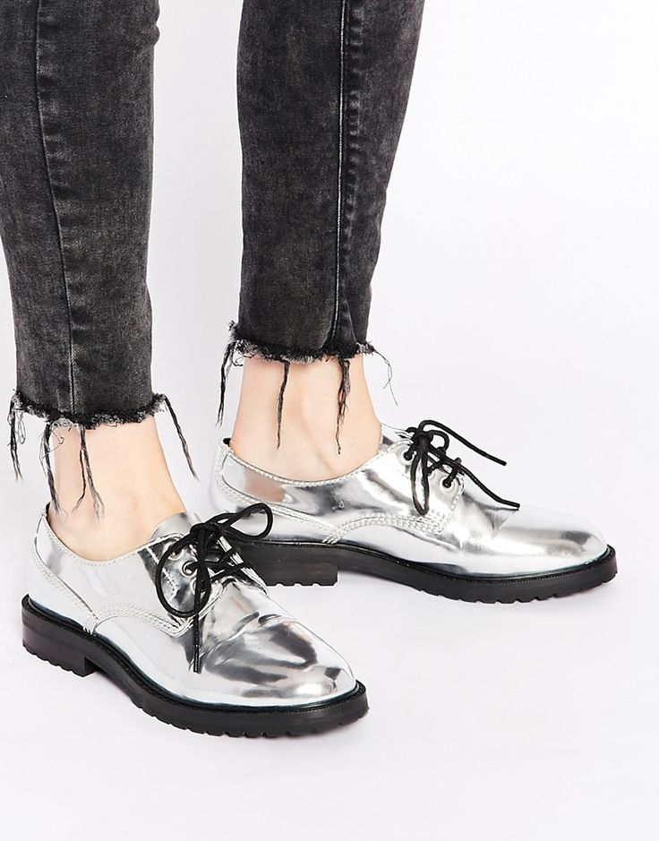 Eeight policewoman metallic silver flat shoes at