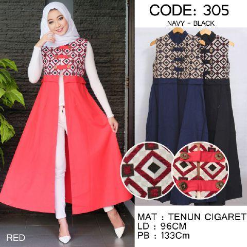Baju Muslim Cantik 305 Longvest Batik Trendy - http://bajumuslimbaru.com/baju-muslim-cantik-305-longvest-batik