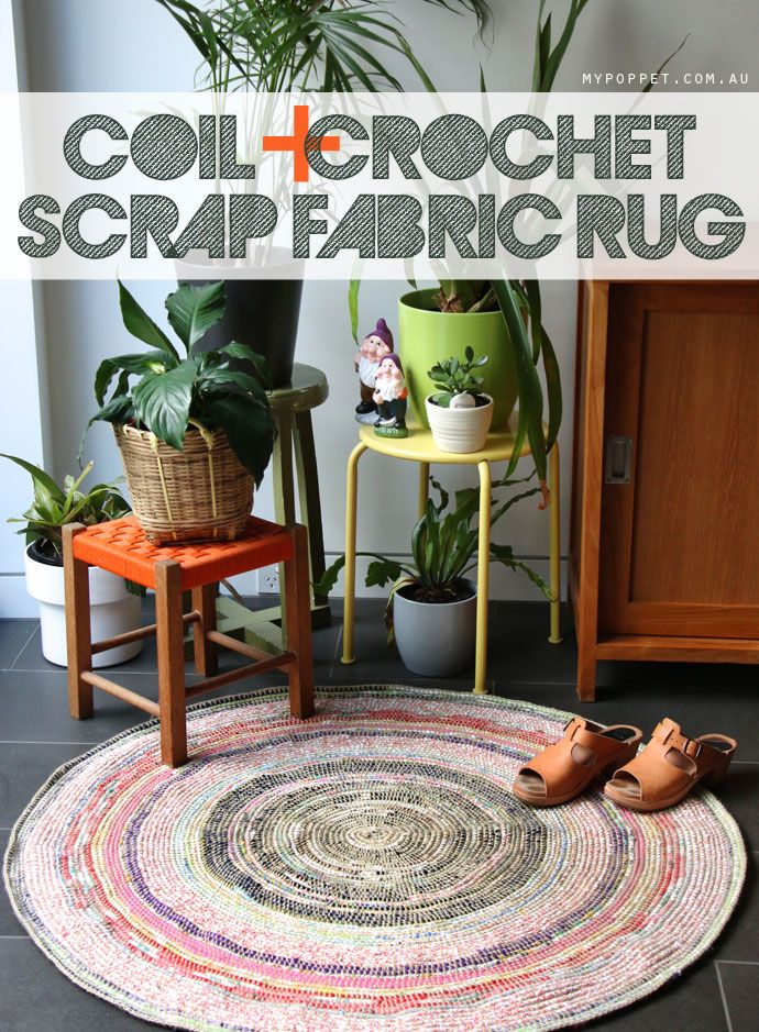 Coil + Crochet Scrap Fabric Rug. How to crochet a DIY rug with rope. AMAZING. This thing is so beautiful and full of texture.
