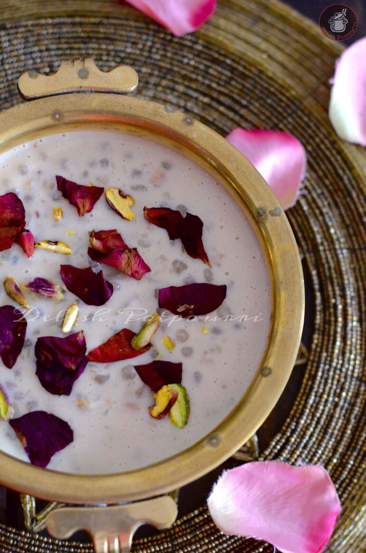Sago sweet potato Rose Pudding.. A delectable Kheer or Milk pudding which is delicious yet light on stomach making the Navratri fasts a feast for all !