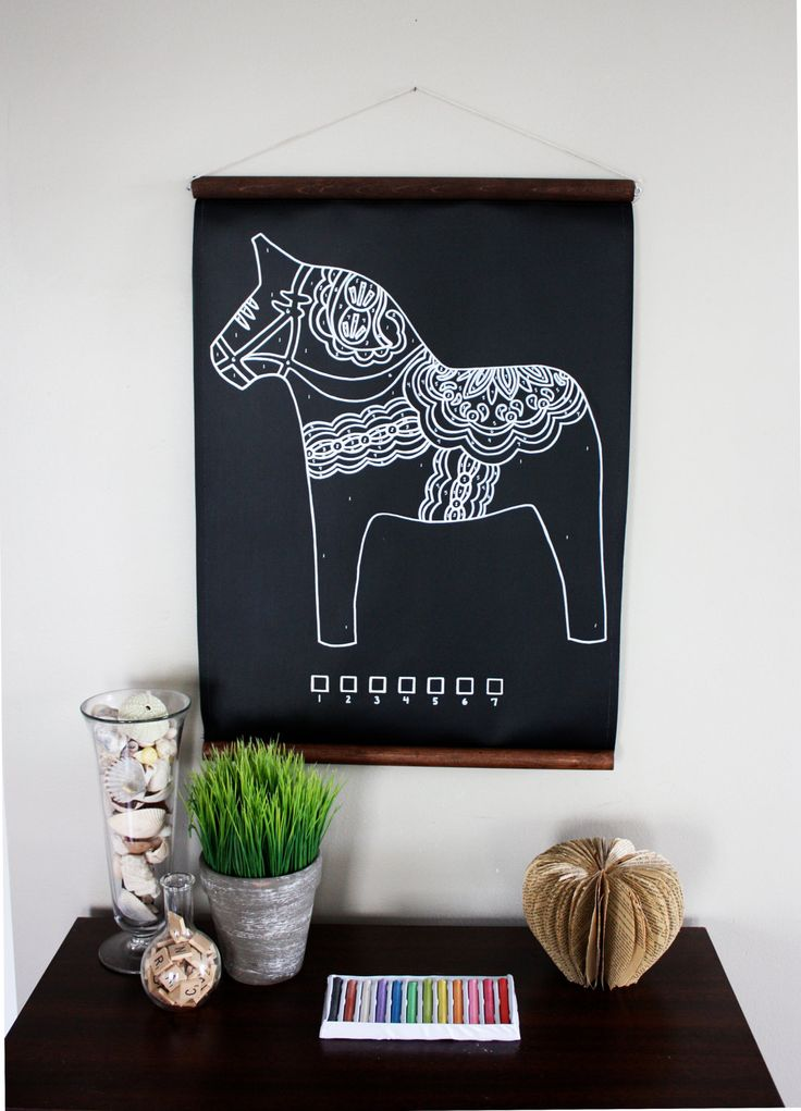 Chalk-By-Number Dala Horse. $65.00, via Etsy. Wish I had the artistic talent to make this myself.