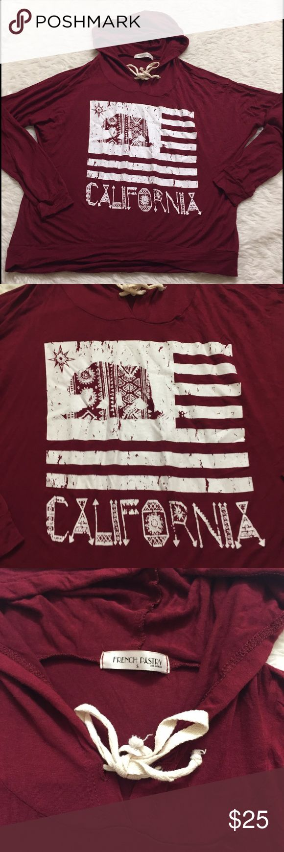 Soft maroon California logo sweater Super soft material. Light weight sweatshirt, California flag french pastry Sweaters