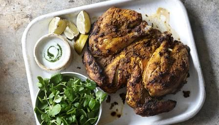 Hairy bikers have a new healthy series, and this is their recipe for   masala-marinated chicken with minted yoghurt sauce -- looks delish.