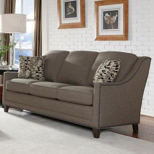 Sectional Sofa Smith Brothers Style Group Contemporary Sofa with Pullover Deco Arms and Nail Head Trim