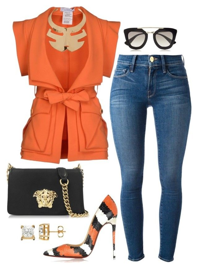 Orange is the new by fashionkill21 on Polyvore featuring polyvore, fashion, style, Versace, Frame Denim, Christian Louboutin, Roger Vivier and Prada