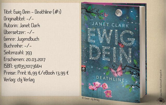"""""""Ewig dein – Deathline"""" von Janet Clark ist ein mysteriöser Jugendroman, der mich durch Spannung und Nervenkitzel mitfiebern ließ. Der Romanceanteil war gering und konnte mich nicht begeistern. ~ mystisch ~ emotionslos und fehlende charaktertiefe ~ Fantasy & Thrill-Anteil mit Suchtpotenzial"""