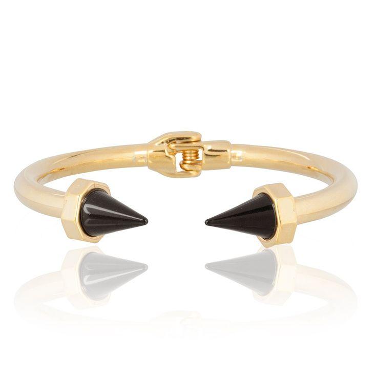 Les Cleias shape bracelet in black and gold via www.my-jewellery.com   #point #bracelet #jewelry #myjewellery