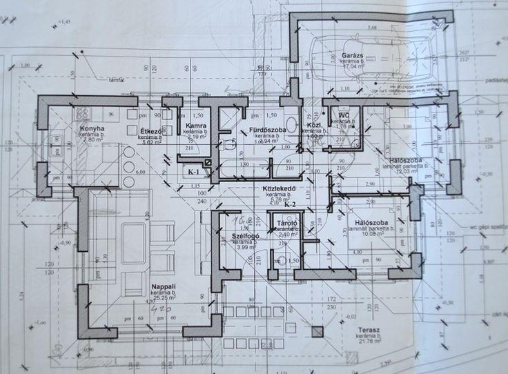 Alaprajz. A ház területe 126 m2. Helyiségek: szélfogó, konyha-étkező-nappali, spájz, 2 hálószoba, fürdőszoba (zuhanyzó, kád, WC), WC, kazánház, házból nyíló garázs