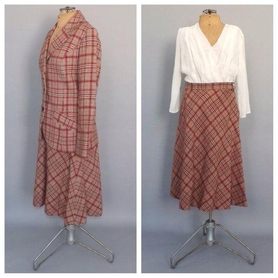 Vintage 1960s 70s Pendleton Two Piece Red Plaid Suit Wool Blazer 60s Fall Jacket Skirt Set Mod Ladies Wool Mad Men Fall Suit Size Medium