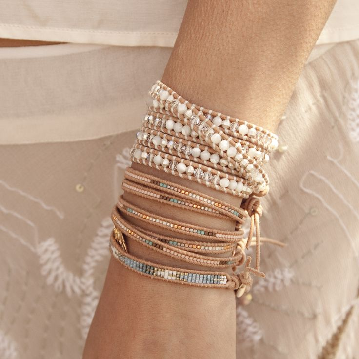 Chan Luu - White Opal Mix Wrap Bracelet on Beige Leather,
