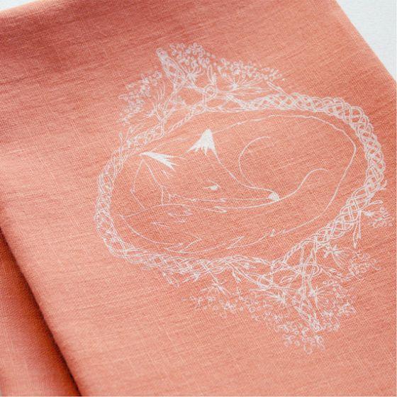 Fox silk screen printed orange linen tea towel  http://www.etsy.com/listing/170682216/fox-silk-screen-printed-orange-linen-tea?ref=shop_home_active_18