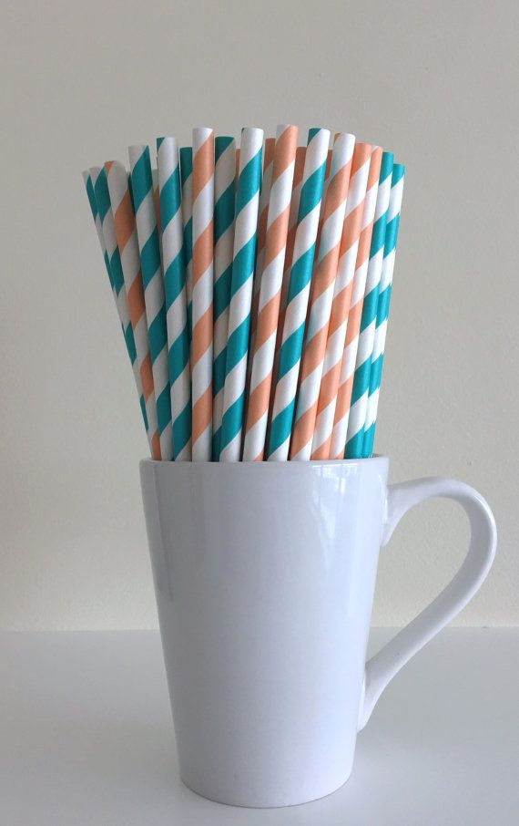 Paper Straws - 25 Peach and Teal / Coral and Aqua Party Straws Birthday Wedding Baby Shower Bridal Shower Mason Jar Straws Mix