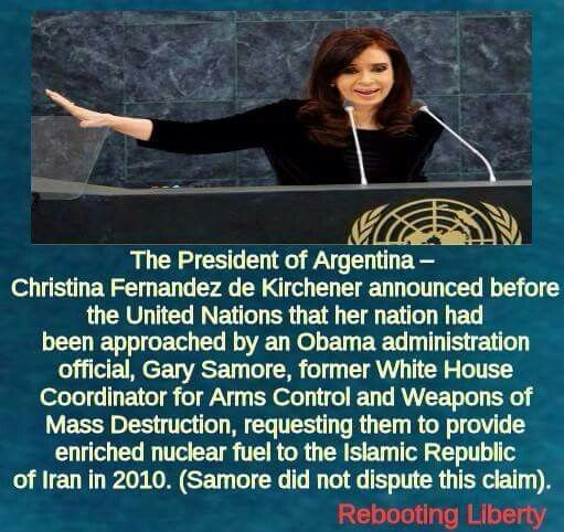Argentina President, Christina Fernandez de Kirchener claims Obama rep asked her to provide nuclear material to Iran: