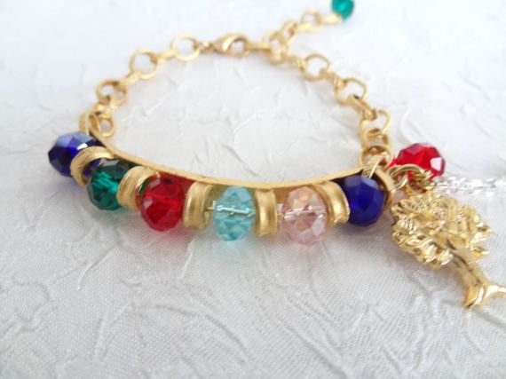 Multi Colored Bracelet Stone Bracelet Gold Chain by sevinchjewelry