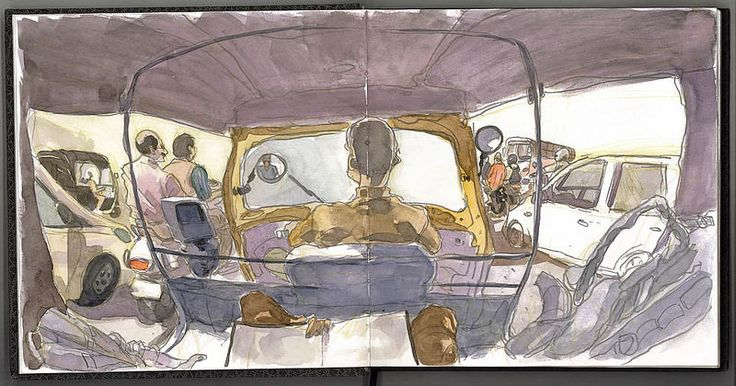 Travel sketchbook of India during the world sketching tour. Mostly sketches done with watercolor on location. Autor: Luis Simoes #urbansketchers #sketch #watercolor #india #traveljournals #traveler