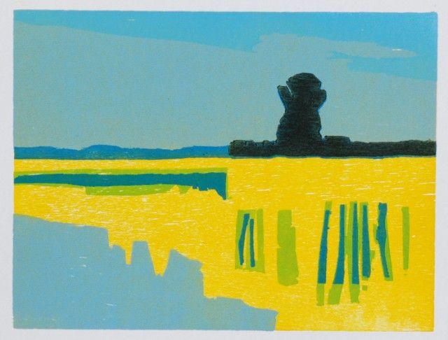 Oud riet, 2009, houtsnede 19 x 25 cm, Frank Dekkers