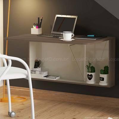 Escrivaninha/Mesa Suspensa Dobrável 1 Porta Basculante 1540 Ébano - Carraro