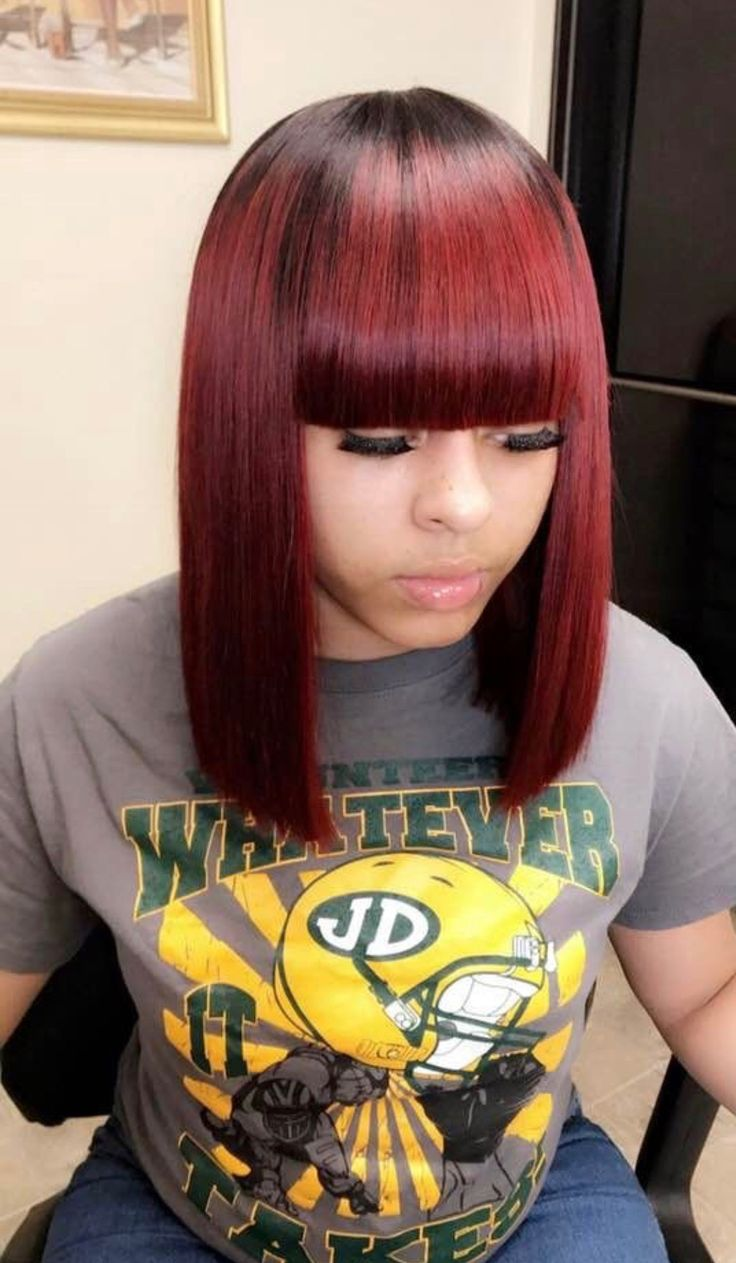 Sew in weave colored Burgundy with bangs bob / shoulder