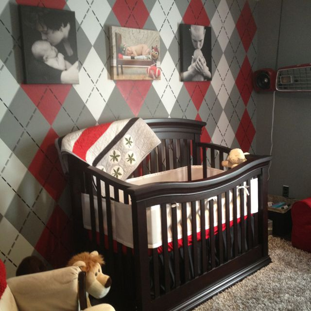 baby boys completed Ohio State nursery with argyle wall. Love it! …