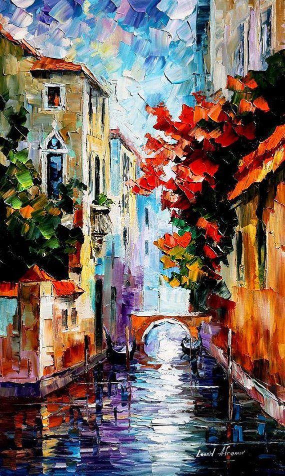 Morning In Venice PALETTE KNIFE Cityscape by AfremovArtStudio