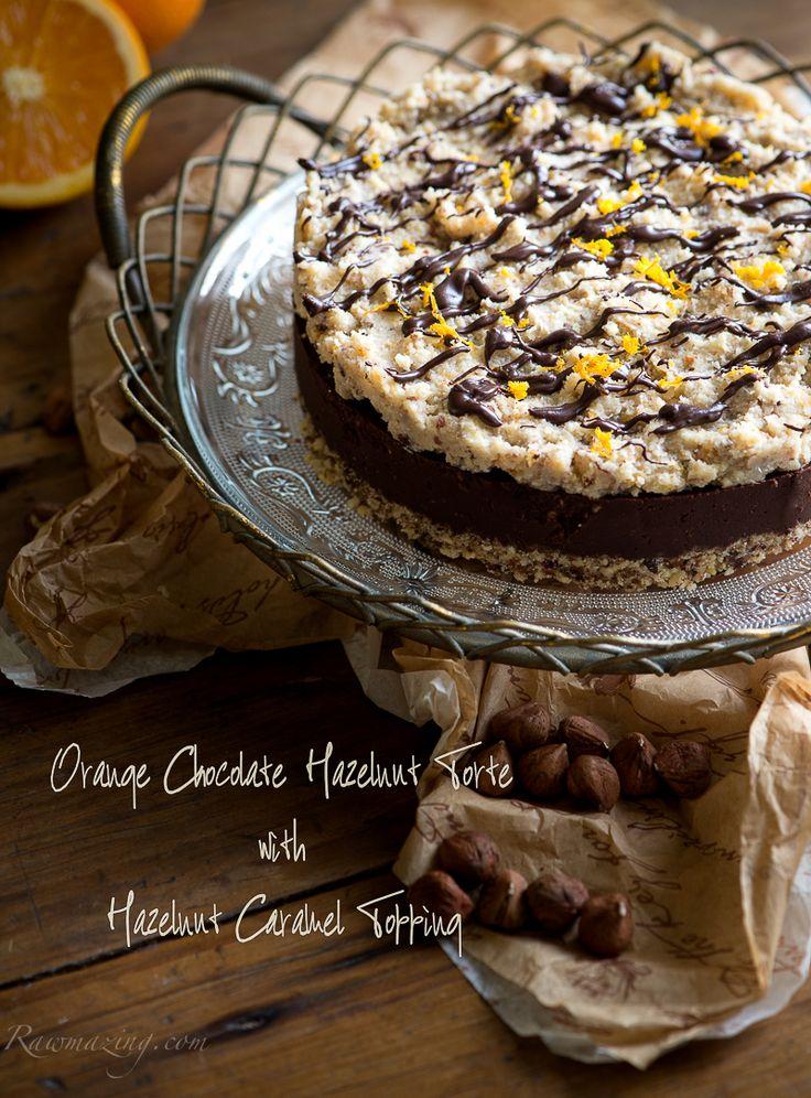 Orange Chocolate Hazelnut Torte, raw, vegan dessert