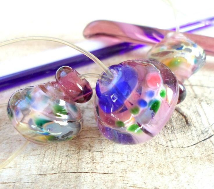 handmade baroque lampwork glass beads for a artisan handmade jewelry for yourself or for her in pink and purple...