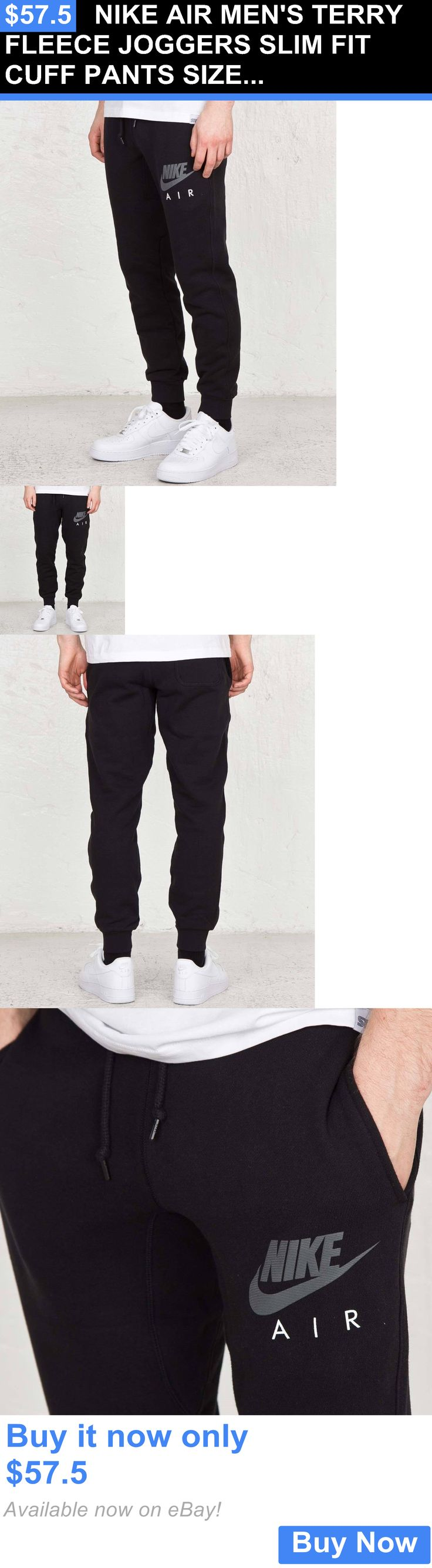 Men Athletics: Nike Air Mens Terry Fleece Joggers Slim Fit Cuff Pants Size Large Black New BUY IT NOW ONLY: $57.5