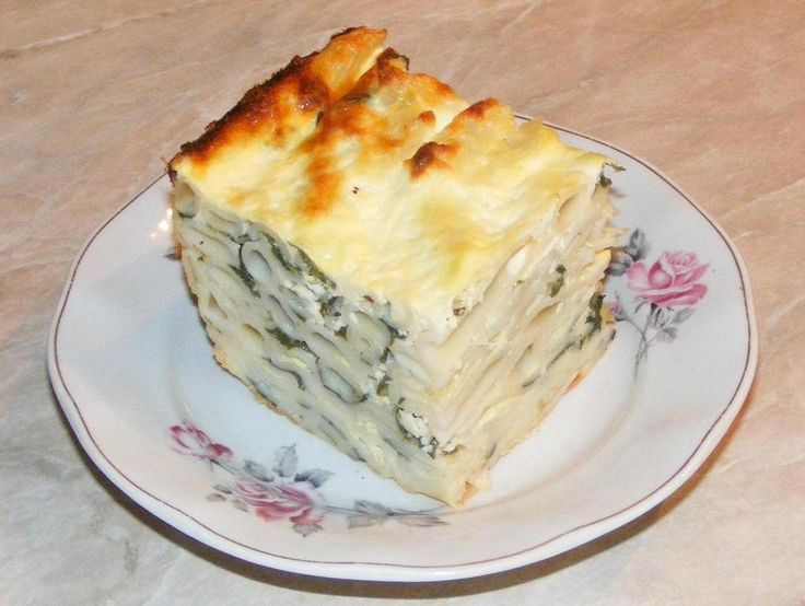Pasta with Spinach - Paste cu branza si spanac la cuptor (budinca de paste)