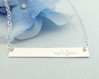 Gold Nameplate Necklace Gold Name Bar Necklace Gold by capucinne