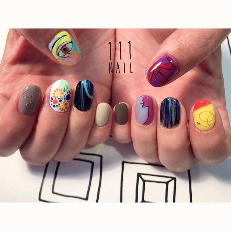 ピカソネイル➰〰▪️〰◾️#nail#art#nailart#ネイル#ネイルアート#colorful#絵画#Picasso #手書きアート#イラスト#paint#ショートネイル#ネイルサロン#nailsalon#表参道#colorful111#手書きアート111#絵画ネイル111 (111nail)