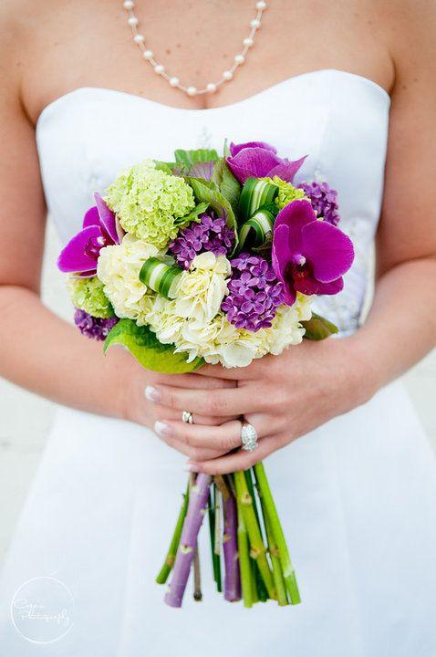 Ella Bella beautiful wedding flower bouquet using purples, pinks, greens
