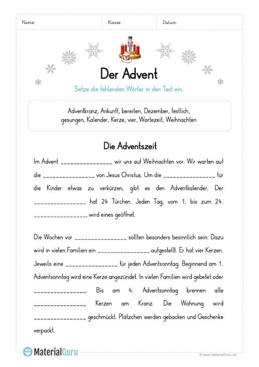 arbeitsblatt l ckentext zum advent weihnacht. Black Bedroom Furniture Sets. Home Design Ideas